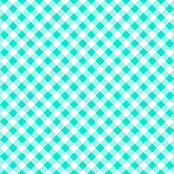 Retro Road Trip Collection - Aqua Gingham - Yardage - Daz Fabrics