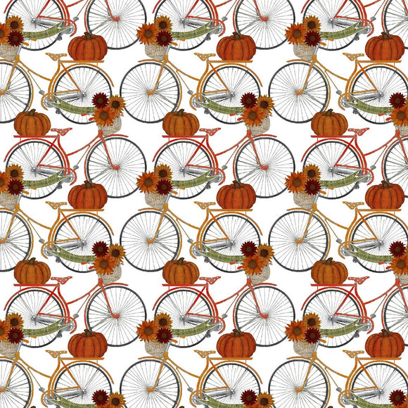 Harvest Campers by Beth Albert - Bicycles White - Y1021 - Daz Fabrics