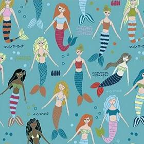 Mermaids & Unicorns - Mermaids Blue/Multi - Yardage - Daz Fabrics