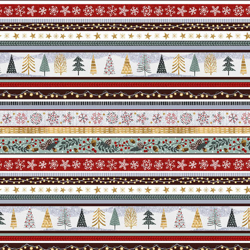 Snowy Magic by Victoria Borges - Frost - Stripe - Yardage - Daz Fabrics