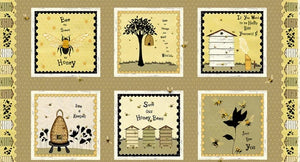 "Bee A Keeper Collection by Dt-K Signature - Repeat Block Print - 12"" Half Panel - Daz Fabrics"