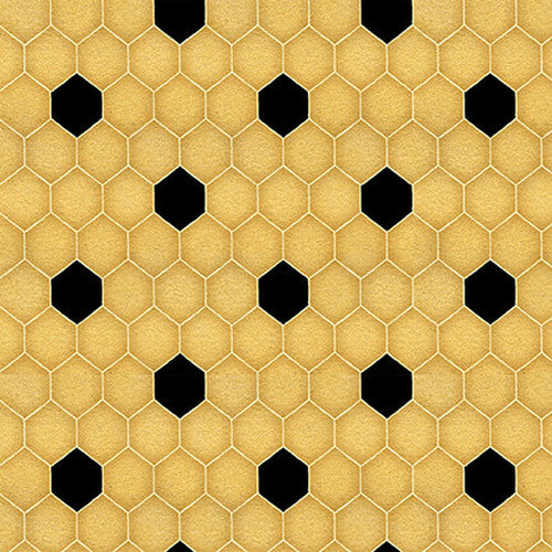 Bee A Keeper Collection by Dt-K Signature - Medium Honeycomb Gold/Black - Yardage - Daz Fabrics