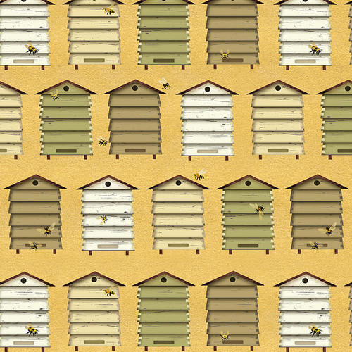 Bee A Keeper Collection by Dt-K Signature - Bee Hive Boxes Yellow - Yardage - Daz Fabrics