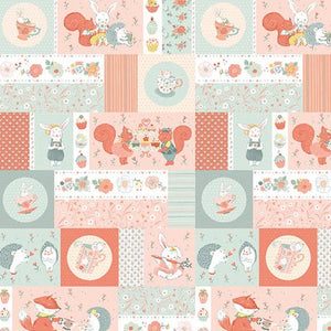 Woodland Tea Time by Lucie Crovatto - Patchwork Critters Aqua/Pink - Y3350 - Daz Fabrics