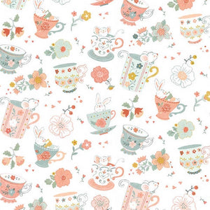 Woodland Tea Time by Lucie Crovatto - Tossed Teacups White - Yardage - Daz Fabrics