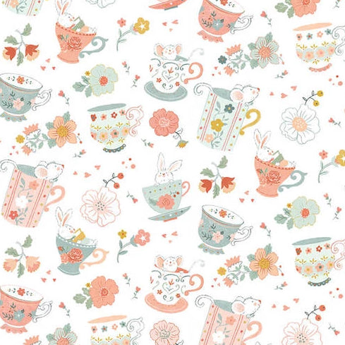 Woodland Tea Time by Lucie Crovatto - Tossed Teacups White - Y3352 - Daz Fabrics