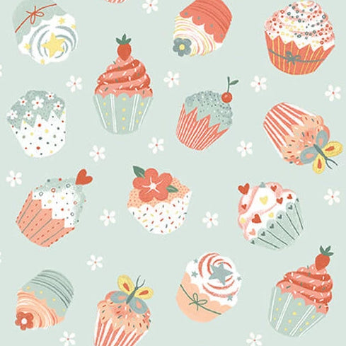 Woodland Tea Time by Lucie Crovatto - Tossed Cupcakes Aqua - Y3351 - Daz Fabrics