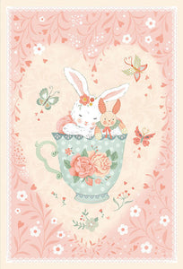 "Woodland Tea Time by Lucie Crovatto - Bunny in Teacup 30"" Panel - Daz Fabrics"