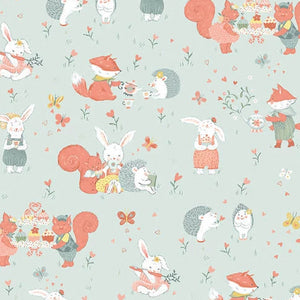 Woodland Tea Time by Lucie Crovatto - Woodland Critters Allover Aqua - Yardage - Daz Fabrics