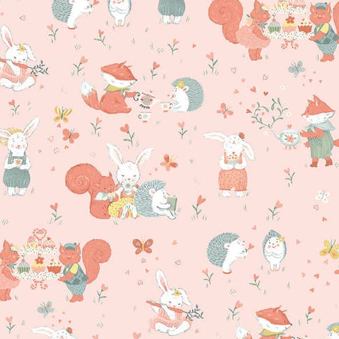 Woodland Tea Time by Lucie Crovatto - Woodland Critters Allover Pink - Y3354 - Daz Fabrics