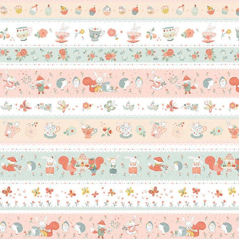 Woodland Tea Time by Lucie Crovatto - Aqua Pink Stripe - Y3347 - Daz Fabrics