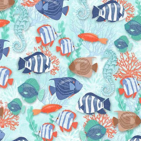 Coastal Dreams by Sharla Fults -  Fish Allover - Yardage Y753 - Daz Fabrics