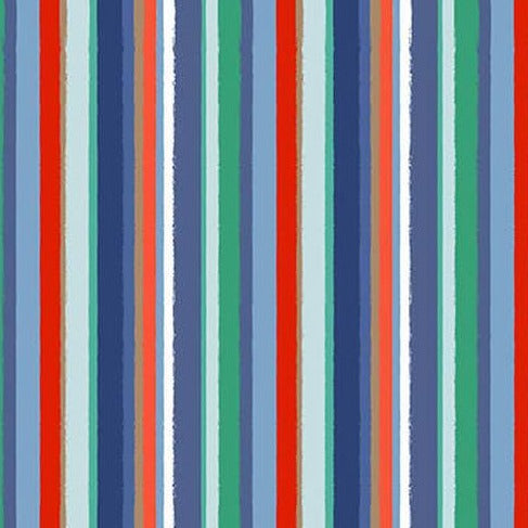 Coastal Dreams by Sharla Fults - Navy/Red Stripe - Yardage Y755 - Daz Fabrics