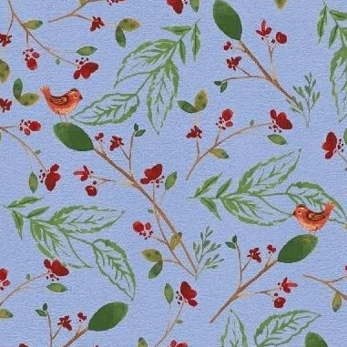 A Walk In The Woods Birds & Leaves Blue by Whistler Studios - Y2222 - Daz Fabrics