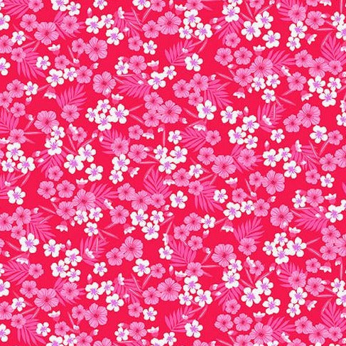 Flamingo Beach by Chelsea DesignWorks - Mini Tropical Floral Dark Pink - Y2274 - Daz Fabrics