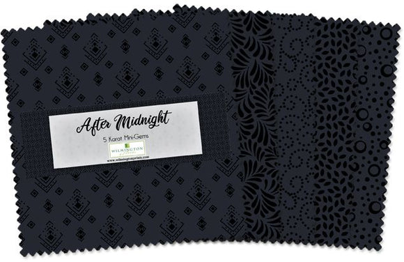 After Midnight by Wilmington Prints Studio - 5 Karat Mini Gems - 24 PC Charm Pack - Daz Fabrics