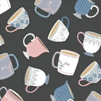 My Cup of Tea by Windham Fabrics - Dainty Little Charcoal - Yardage - Daz Fabrics