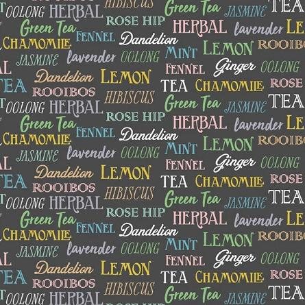 My Cup of Tea by Windham Fabrics - Tea Words Charcoal - Y214 - Daz Fabrics