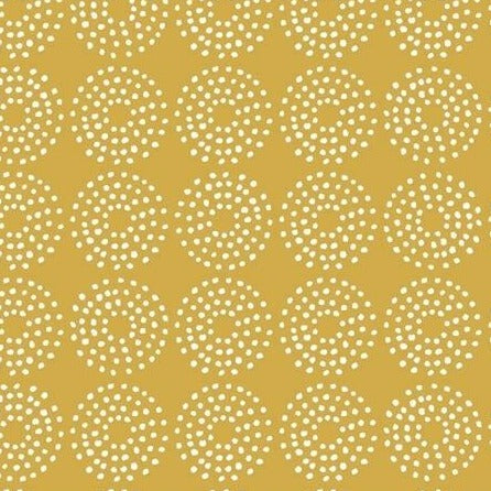 Backyard Blooms by Allison Harris - Circle Dots Yellow - Y99 - Daz Fabrics
