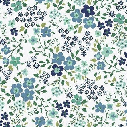 Backyard Blooms by Allison Harris - Mixed Blooms Aqua - Y103 - Daz Fabrics