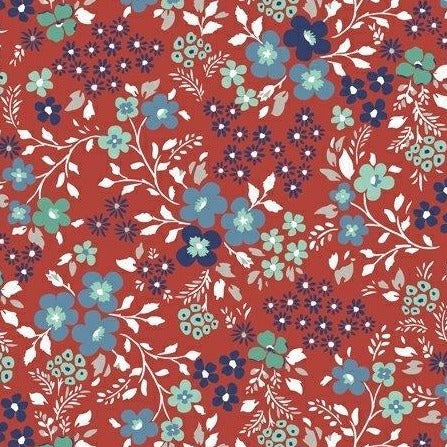 Backyard Blooms by Allison Harris - Mixed Blooms Red - Y105 - Daz Fabrics
