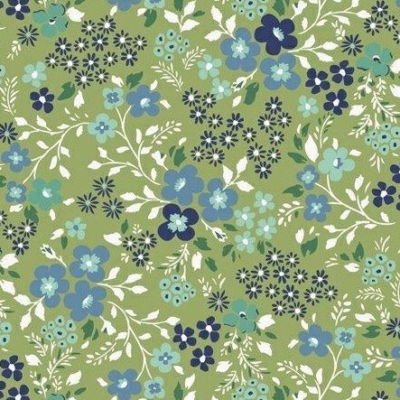 Backyard Blooms by Allison Harris - Mixed Blooms Lime - Y104 - Daz Fabrics