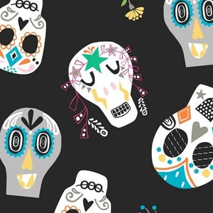 Fiesta Collection by Jill McDonalds - Sugar Skulls Black -  Y953 - Daz Fabrics