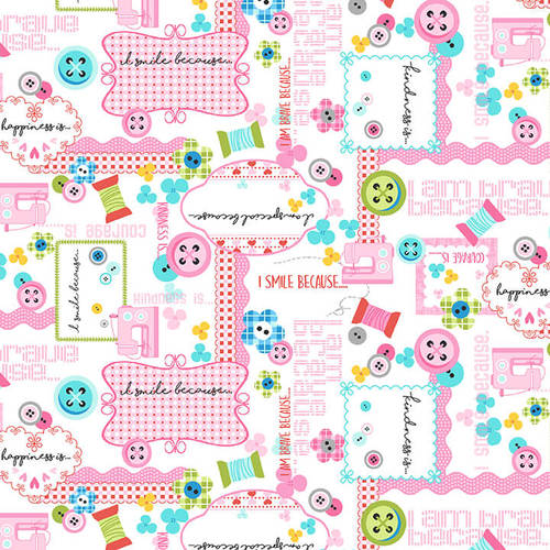 Sew Kind by Stitches by Charlotte - Collage Pink - Yardage - Daz Fabrics
