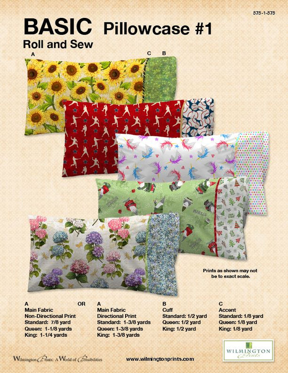 Basic Pillowcase #1 by Wilmington Prints - Roll and Sew - Click RED Link (IN RED) Below to Receive Free Pattern - Daz Fabrics