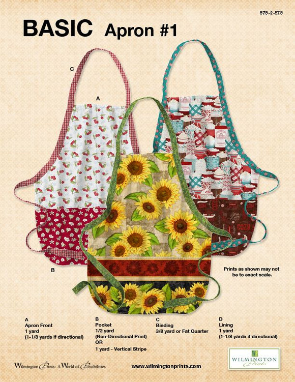 Basic Apron Pattern by Wilmington Prints - Click Link (IN RED) Below to Receive Free Pattern - Daz Fabrics