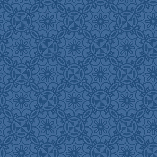 Benartex Home Grown by Nancy Halvorsen - Medallion Navy - Yardage