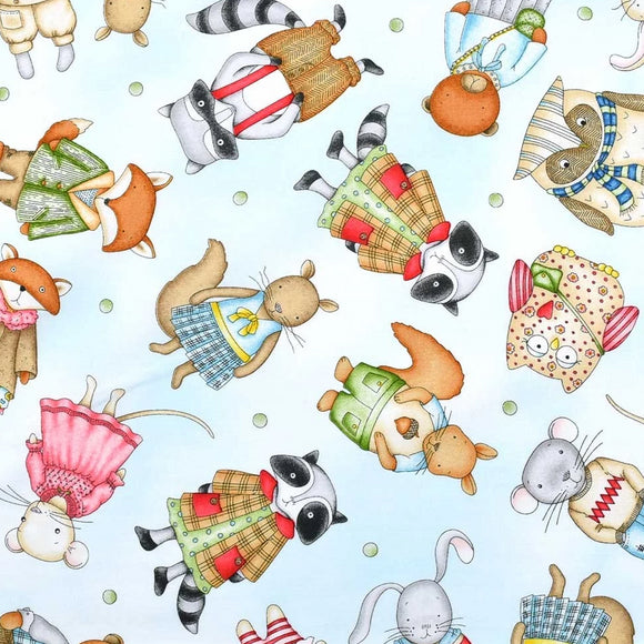 Forest Friends Collection by Kris Lammers - Tossed Critters Light  Blue - Yardage - Daz Fabrics