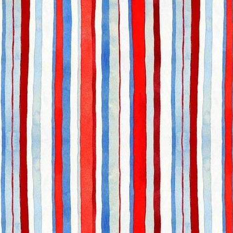 Star Spangled Water Color Stripe by Andrea Tachiera - Yardage - Daz Fabrics