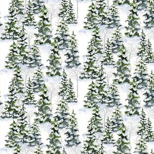 Snowy Woods by Barb Gelotte Tourtillotte - Green Forest - Y2176 - Daz Fabrics