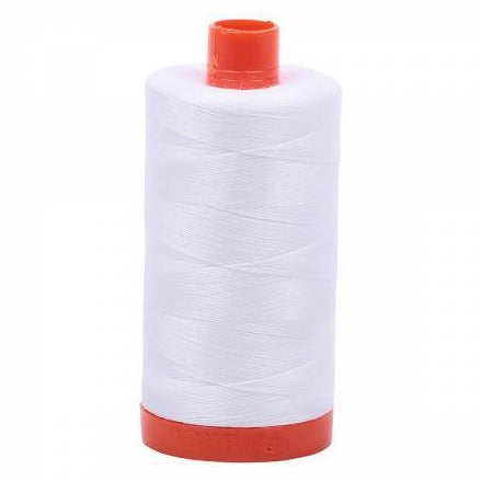 Aurifil 50wt Thread -100% Cotton Mako - White - Daz Fabrics