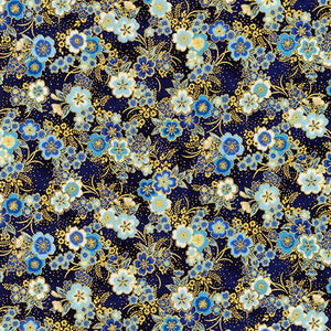 Imperial Collection Metallic 15 by Hyun Joo Lee - Floral Navy - Y2151 - Daz Fabrics