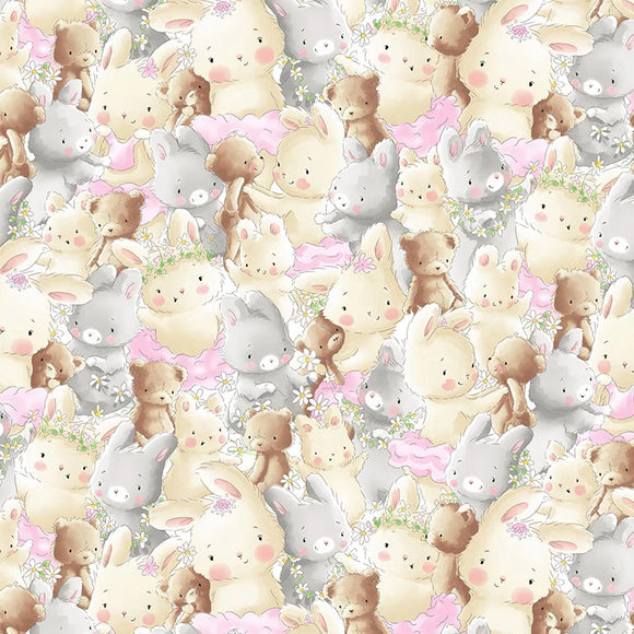 Friendship Blossoms by Bunnies by the Bay - Packed Bunnies and Bears - Y3584 - Daz Fabrics