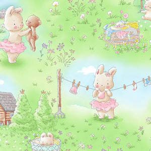 Friendship Blossoms by Bunnies by the Bay - Bunny in the Meadow - Yardage - Daz Fabrics