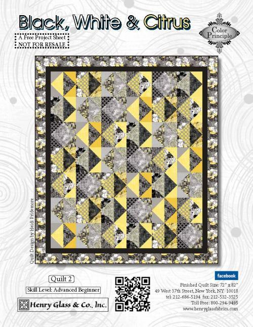 Copy of Black White and Citrus Quilt 2 Pattern  - Click on RED LINK in Product Description, below Paypal button,  to receive pattern - Daz Fabrics