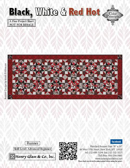 Copy of Black, White & Red Hot Runner- Click on RED LINK in Product Description, below Paypal button,  to receive pattern - Daz Fabrics
