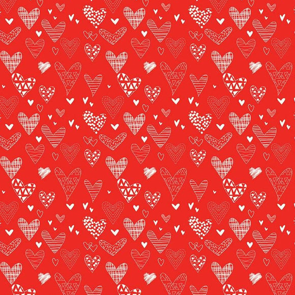 From The Heart by Sandy Gervais - Hearts Red - Y2661 - Daz Fabrics