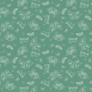 Wild Bouquet by Citrus & Mint Designs - Bouquet Moths Green - Yardage - Daz Fabrics