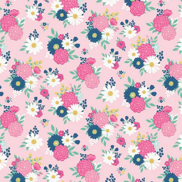 I'd Rather Be Glamping by Dani Mogstad - Bouquets Pink - Yardage - Daz Fabrics