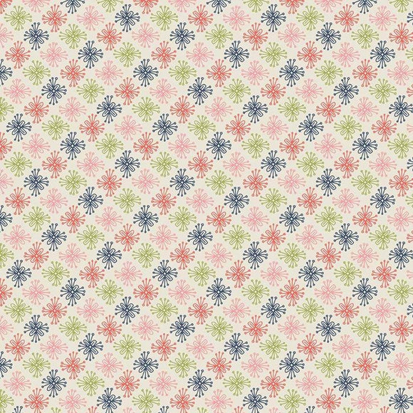 Sew Retro by Sara Davies - Star Flower Cream - Yardage - Daz Fabrics