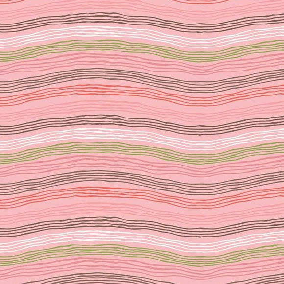 Sew Retro by Sara Davies - Waves Pink - Yardage - Daz Fabrics