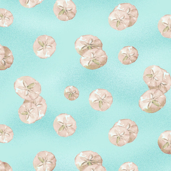 By The Seahore Seashells by Ellen Crimi-Trent - Sand Dollars Light Aqua - Yardage - Daz Fabrics