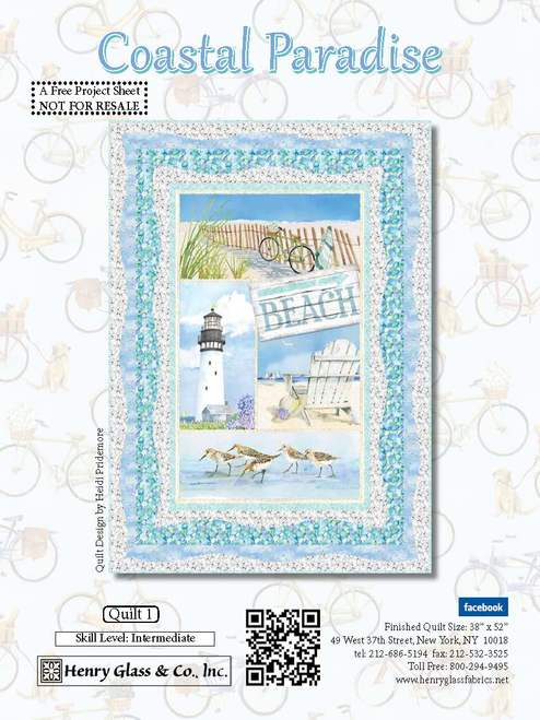 Coastal Paradise Quilt #1 - Click on RED LINK in Product Description, below Paypal button,  to receive pattern - Daz Fabrics