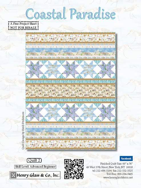 Coastal Paradise Quilt #2 - Click on RED LINK in Product Description, below Paypal button,  to receive pattern - Daz Fabrics