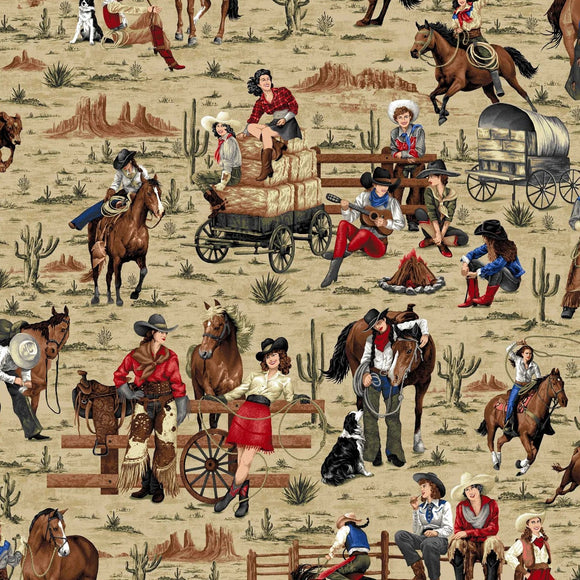 Cowgirl Spirit by Carol Holzapfel - Allover Tan - Yardage - Daz Fabrics