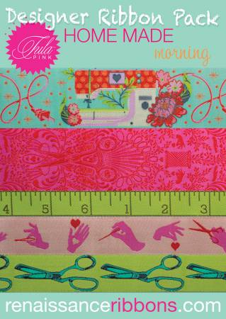 Designer Ribbon Pack HomeMade Morning - 5 yds Woven Ribbons N34 - Daz Fabrics